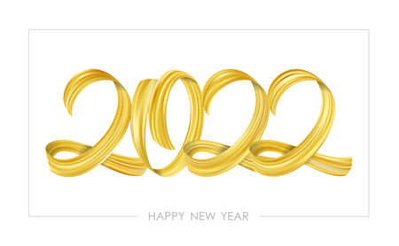 Vector Golden Brushstroke paint lettering calligraphy of 2022 Happy New Year on white background.Luxury design 向量圖像