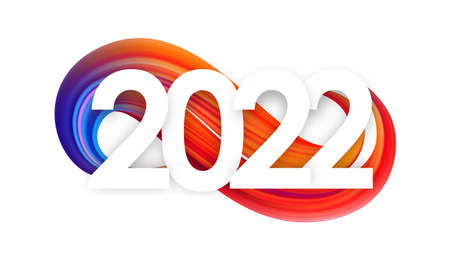 Vector illustration: Happy New Year. Number of 2022 on colorful abstract twisted paint stroke shape background. Trendy design