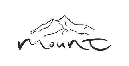 Brush lettering of Mount with Hand drawn Peak of Mountains sketch 向量圖像