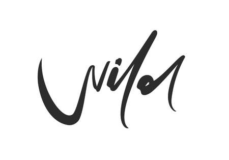 Hand drawn brush calligraphic lettering of Wild on white background 向量圖像