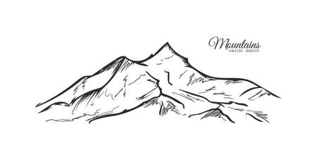 Vector Hand drawn Mountains sketch landscape with hills and peaks