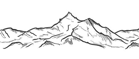 Vector illustration: Hand drawn Mountains sketch landscape with rocks and peaks