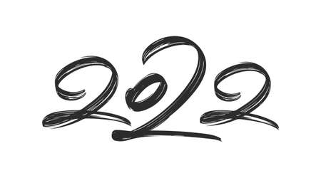 Handwritten brush ink lettering of 2022. Happy New Year. Chines calligraphy 向量圖像
