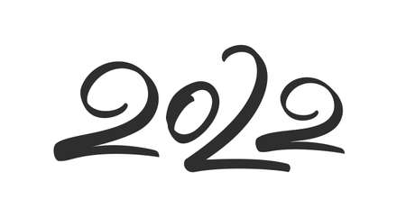 Handwritten brush lettering of 2022. Happy New Year. Chines calligraphy