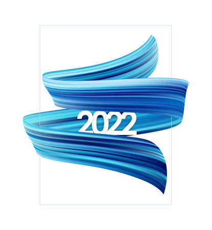 Brush stroke oil or acrylic paint with New Year 2022. Poster trendy design