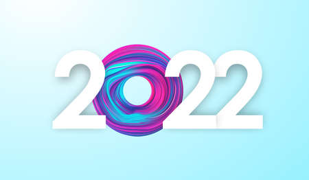 Happy New Year 2022. Greeting card with colorful abstract fluid shape.