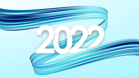 Happy New Year 2022. Greeting card with blue abstract twisted acrylic paint stroke shape. Trendy design