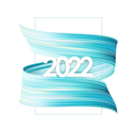 Blue brush stroke oil or acrylic paint with New Year 2022. Poster trendy design