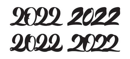 Vector illustration: Set of Handwritten lettering of 2022. Happy New Year 向量圖像