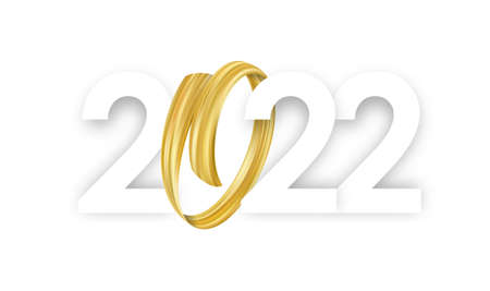 Happy 2022 New Year. Numbers with abstract gold color brushstroke paint