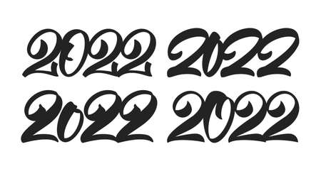 Set of Hand lettering of 2022. Happy New Year. Chines calligraphy 向量圖像