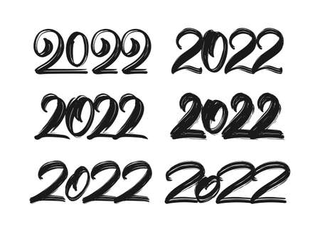 Set of Handwritten lettering of 2022. Happy New Year. Chines calligraphy