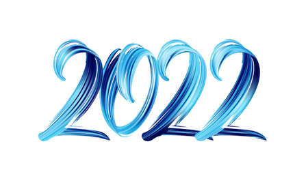 Hand drawn brush stroke blue color paint lettering of 2022. Happy New Year 向量圖像