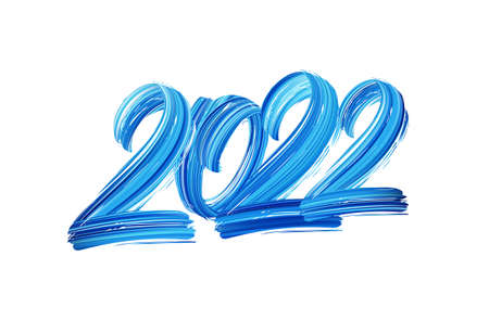 Vector illustration: Hand drawn brush stroke blue paint lettering of 2022. Happy New Year
