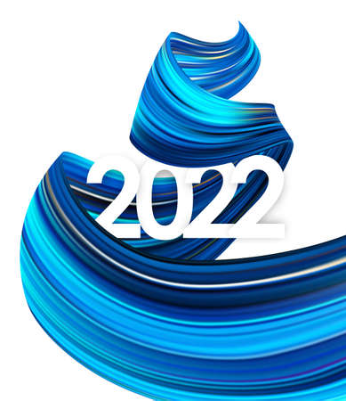 Vector illustration: Happy New Year. Number of 2022 with twisted blue color paint stroke shape. Trendy design 向量圖像