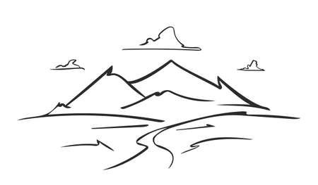 Vector hand drawn outline sketch mountains landscape with road on foreground
