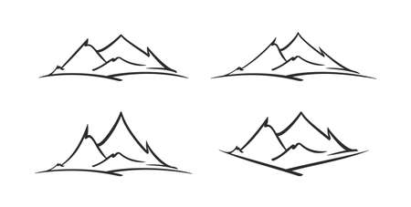 Vector set of hand drawn mountains sketch icons. 向量圖像