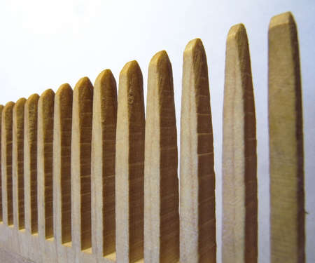 stakes: Symbolic fence in a macro scale. Teeth of wooden rape weight on a white background.