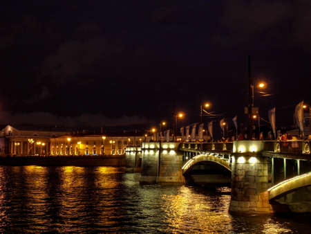 Lights of the night city. White nights in St. Petersburg.