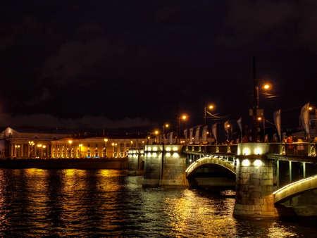 st petersburg: Lights of the night city. White nights in St. Petersburg.