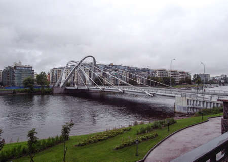 The cable-stayed bridge in the north of St. Petersburg. Petersburg.