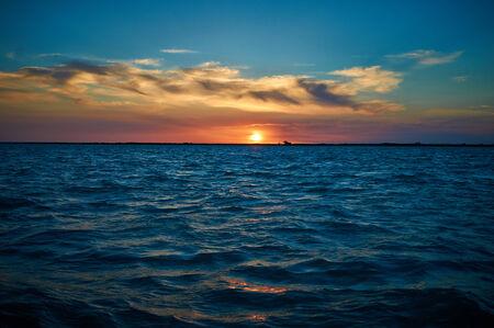 sunset over lake Balkhash photo