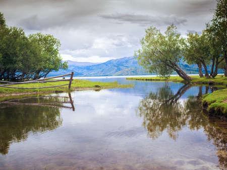 cloudy day at the lake in Kazakhstan Stock fotó