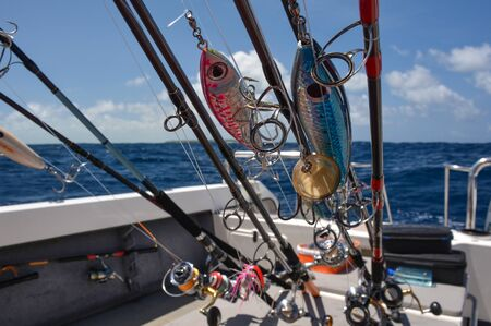 Spinning, Fishing Rods, Fishing Boat,Prepared For Fishing In The Ocean