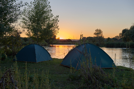 Sunset View On The Calm Lake And Small Tourist Tents,Wild Nature Stock fotó