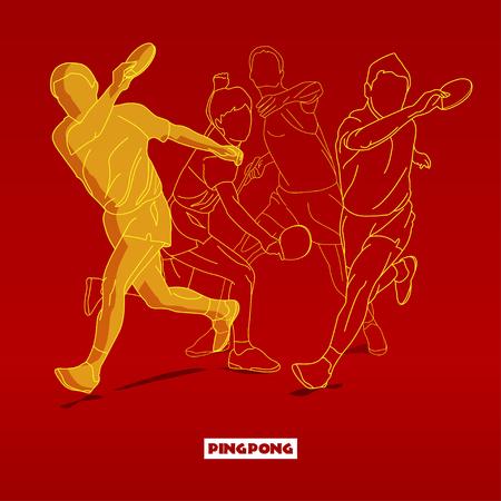 ping pong: Conceptos Dise�o Ilustraci�n Siluetas de jugador de tenis que juega a ping-pong con estilo tipogr�fico. Ilustraci�n del vector. Conceptos Web Banner y materiales impresos. De moda y hermoso Vectores