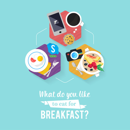 Design concept with concepts items icon. Icon breakfast business