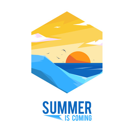 coming: Design Illustration Concepts Summer Landscape with Style Typography. Concepts Web Banner and Printed Materials. Trendy and Beautiful. Summer is Coming Illustration