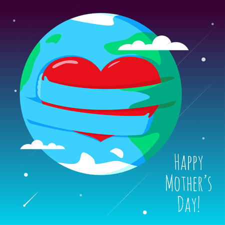 romantic hug: Romantic and love illustration of the globe with his hands, that hugs heart. Greeting Card for Happy Mothers Day. Illustration