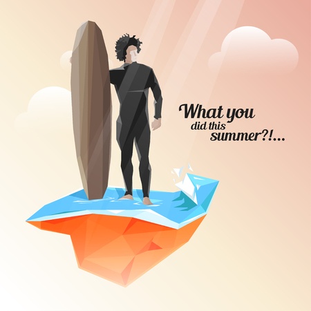 summer day: Vector summer holiday background with stylish typography. Surfer keeps board for surfing. Beautiful summer day with sunshine. Vectores