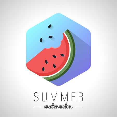 watermelon: Design Illustration Concepts Watermelon Icon. Summer. Vector Illustration. Concepts Web Banner and Printed Materials. Trendy and Beautiful. Gradient Background Illustration