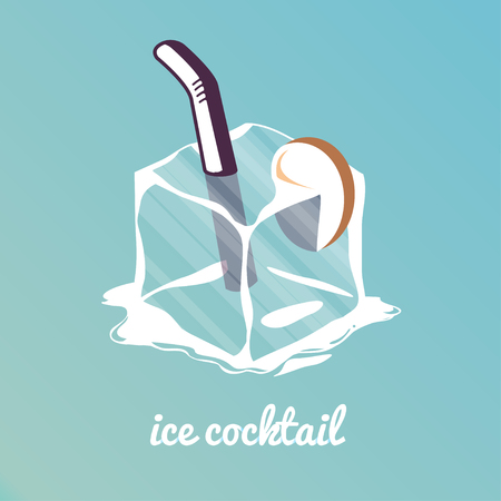 ice cube: Ice cocktail. Gradient background, stylish typography