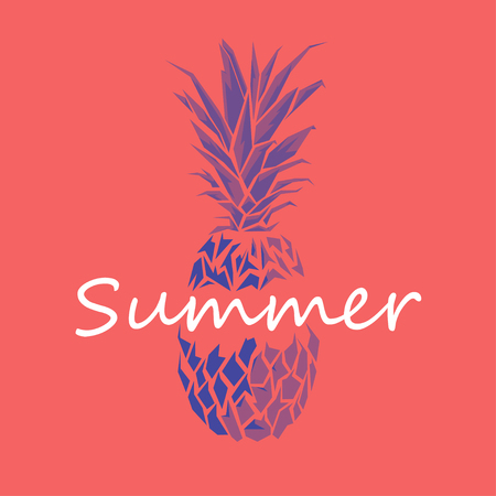 ananas: Design Illustration Concepts Ananas with Style Typography. Vector Illustration. Concepts Web Banner and Printed Materials. Trendy and Beautiful. Polygonal Low Poly. Flat Elements Illustration