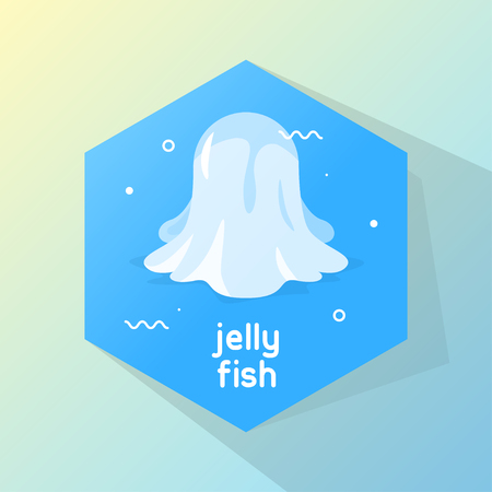 oceanography: Design Illustration Concepts Icon Jellyfish with Style Typography. Vector Illustration. Concepts Web Banner and Printed Materials. Trendy and Beautiful. Gradient Background