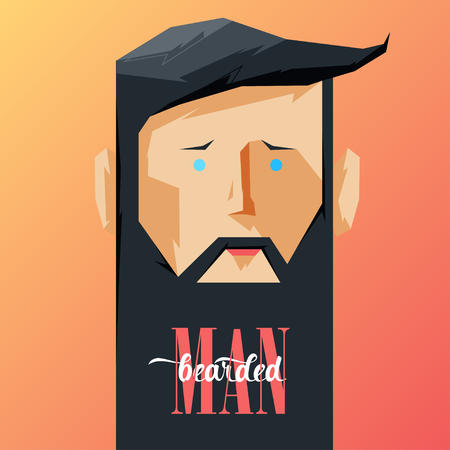 whisker characters: Design Illustration Concepts Man with Beard. Vector Illustration. Concepts Web Banner and Printed Materials. Trendy and Beautiful. Flat Elements