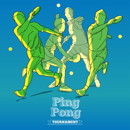 Design Illustration Concepts Silhouettes of Tennis Player Playing Ping Pong with Style Typographic. Vector Illustration. Concepts Web Banner and Printed Materials. Trendy and Beautiful