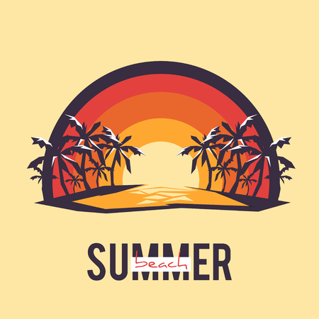 wave tourist: Design Illustration Concepts Summer Landscape with Style Typography. Vector Illustration. Concepts Web Banner and Printed Materials. Trendy and Beautiful. Polygonal Low Poly Illustration