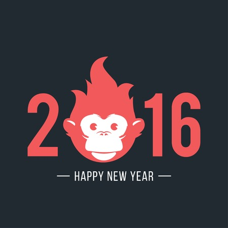 monkey: Design Illustration Concepts Symbol New Year. Monkey. 2016. Vector Illustration. Concepts Web Banner and Printed Materials. Trendy and Beautiful. Flat Elements Illustration