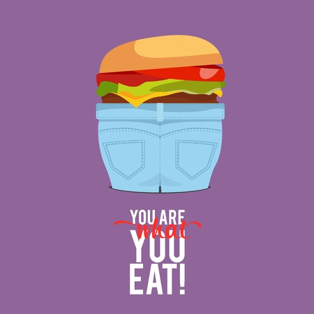 obesity: Design Illustration Concepts People Eat Fast Food with Style Typography. Vector Illustration. Concepts Web Banner and Printed Materials. Trendy and Beautiful. Text You Are What You Eat