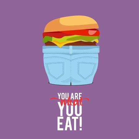 obesidad: Diseño Ejemplo Conceptos de la gente come comida rápida con la tipografía de estilo. Ilustración del vector. Conceptos Web Banner y materiales impresos. De moda y hermoso. Texto Usted es lo que come Vectores