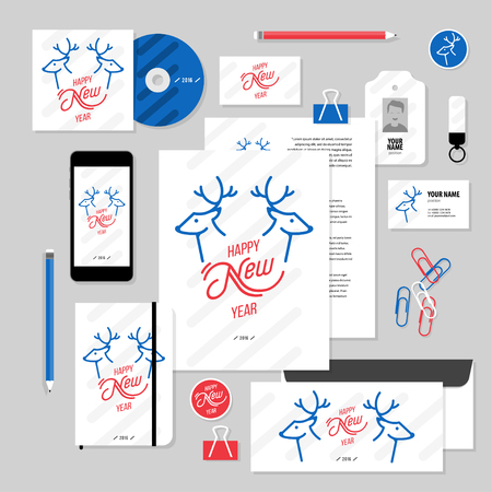 ide: Corporate identity business set design. Vector stationery template design with christmass deer and calligraphy elements. Documentation for business.