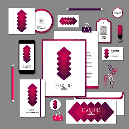 documentation: Corporate identity business set design. Vector stationery template design with new year elements, 2016. Documentation for business.