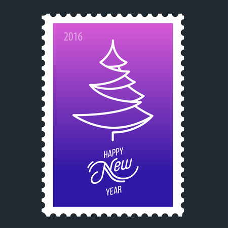 plain postcards: Design Illustration Concepts Christmas Tree. Happy New Year. 2016. Postage Stamp. Illustration
