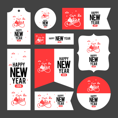 scrapbook: Collection of new year 2016 cards, notes, stickers, labels, tags with cute ornament illustrations. Template for scrapbooking, wrapping, notebooks, notebook, diary, decals, school accessories