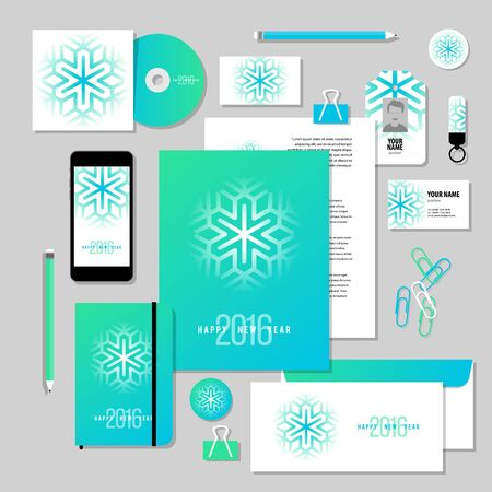 documentation: Corporate identity business set design. Vector stationery template design with new year elements, 2016, snowflake. Documentation for business.