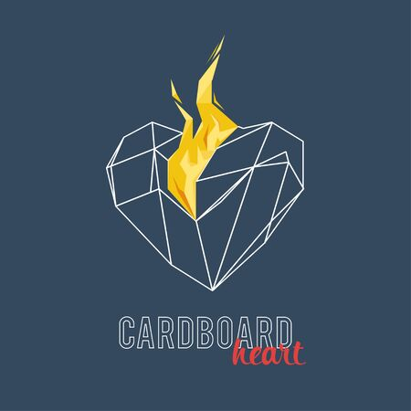 burning heart: Burning heart on a gradient background. Polygons, triangles, faces. Stylish typography Illustration